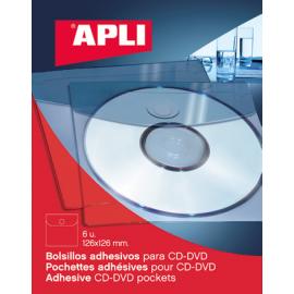 FUNDA ADHESIVA PORTACDS 126X126MM B/6U TRANSP 2585 APLI