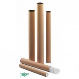 TUBO PORTAPLANOS 100% RECICLABLE CARTON 750X80MM CON TAPAS DE PLASTICO FAIBO 950-5